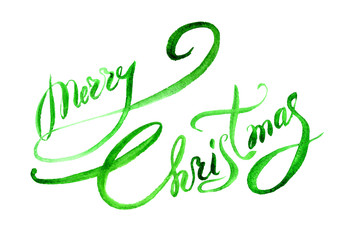 text Merry Christmas hand painted blue watercolor lettering