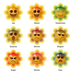 Smiley in flower, expressing the basic human psychological emotions. Vector illustration.