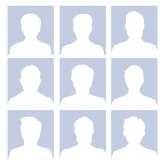 Male avatar human empty faces vector illustration