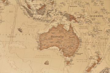 Ancient geographic map of Oceania with names of the countries