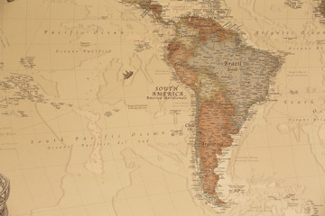 Ancient geographic map of south America with names of the countries