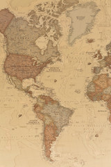 Ancient geographic map the Americas with names of the countries