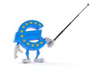 Euro currency character holding pointer stick