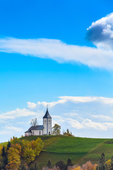 Church on top of the hill in Slovenia countryside