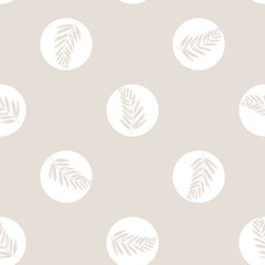 Vector Handful Of Christmas Scents Twigs in dots seamless pattern background. Perfect for fabric, scrapbooking and wallpaper projects.