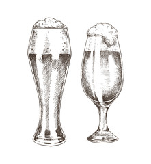 Pair of Beer Goblets with Foamy Ale Graphic Art
