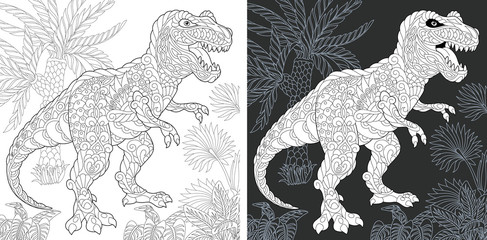 Coloring pages with Tyrannosaurus rex dinosaur