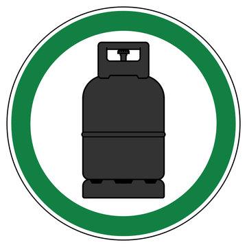 srg515 SignRoundGreen - german - ez515 ErlaubnisZeichen - Staplergas / Treibgas / Verbrennung erlaubt - english - approved - forklift gas bottle allowed (combustion of propane gas) - green g6979