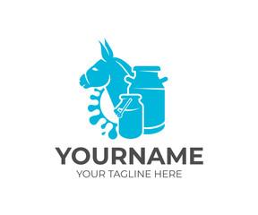 Donkey, milk cans and splash milk, logo design. Dairy farm, milk farm, cattle breeding and stock raising, vector design and illustration