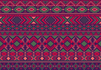 Ikat pattern tribal ethnic motifs geometric seamless vector background. Graphic indonesian tribal motifs clothing fabric textile print traditional design with triangle and rhombus shapes.