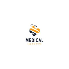 Vector logo design,medical icon and food,drink