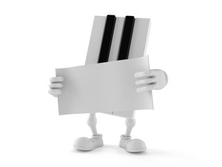 Piano character holding blank sheet of paper