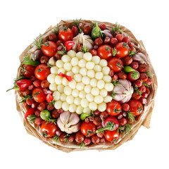 Unique tasty edible gift for a man in the form of a bouquet consisting of sausage, cheese, tomatoes, pepper and garlic isolated on a white background. Top view