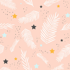 Fototapete - Seamless pattern branches and stars
