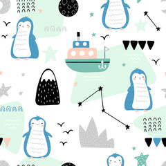 Baby seamless pattern with penguins