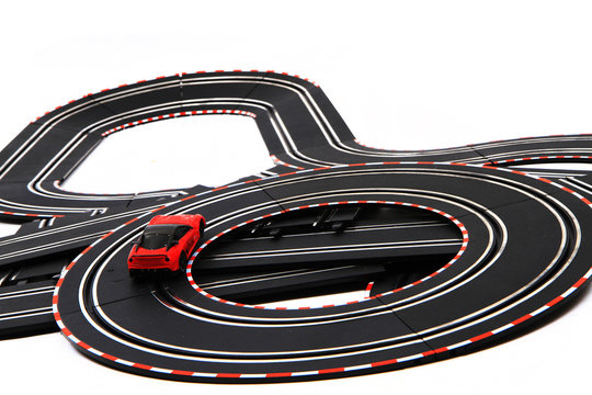 track race transportation toy isolated