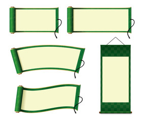 Japanese scroll paper / hanging scroll illustration set (green)