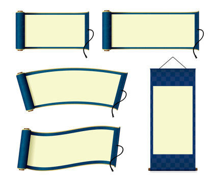 Japanese scroll paper / hanging scroll illustration set (blue)