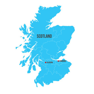 Scotland vector map silhouette isolated on white background. High detailed silhouette illustration. clean design.