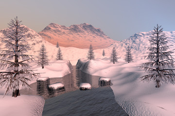 Snowy mountains, a winter landscape, coniferous trees, stones in the river and a hazy sky.