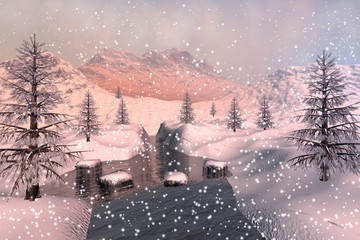 Snowfall, an alpine landscape, coniferous trees  next to the river, snowy mountains and a cloudy sky.