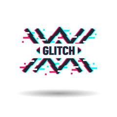 Vector logo in distorted glitch style. Frame in distorted glitch style. Modern trendy element for design Logo, sign, label, emblem.