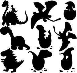 恐竜のキャラクターのシルエット