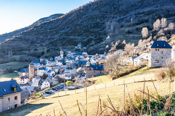 Landscape of the village of Gistain. Pyrenees. Huesca. Spain