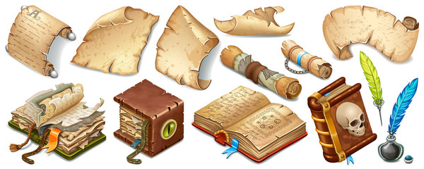 Set isometric books of magic spells and witchcraft, royal scrolls and parchments, old paper. Fairy tale icon in cartoon style  for computer game. Isolated 3d vector illustration.