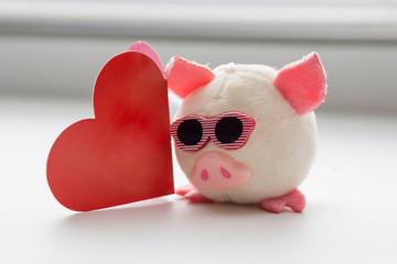 little plush pig. soft toy, piggy bank, to rasny heart. Valentine