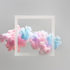 Wall Mural - Abstract pastel pink and blue color paint with pastel gray background. Fluid composition with copy space. Minimal natural luxury.