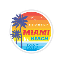 California Miami beach 1985 - vector illustration concept in retro vintage graphic style for t-shirt and other print production. Palms, sun, coast. Badge logo design. Summer travel vacation. Paradise.