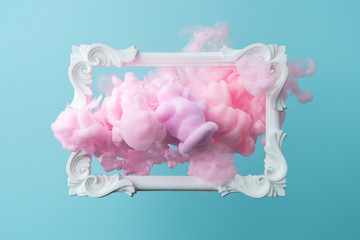 White vintage frame on pastel blue background with abstract pink cloud shapes. Minimal border...