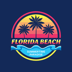 Florida beach - vector illustration concept in retro vintage graphic style for t-shirt and other print production. Palms, sun, coast. Badge logo design. Summertime paradise travel vacation.