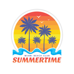 Summertime Miami beach club - vector illustration concept in retro vintage graphic style for t-shirt and other print production. Palms, sun, beach, coast. Badge logo design. Summer travel vacation.