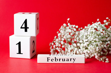 Calendar with the date Valentine's Day and gypsophila.