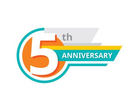 Creative emblem 5 th years anniversary. Five template logo badge design element. Abstract geometric banner on white background.
