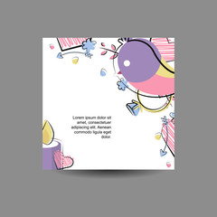Vector greeting card, banner with flat elements love, romance, wedding