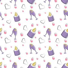 Vector seamless pattern of plane elements. Romance, love, wedding