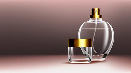 Cosmetic Glass Banner Vector. Premium Jar. Medical Moisturizer. Luxury, Fashion. Bottle. Jar. 3D Isolated Transparent Realistic Mockup Template Illustration
