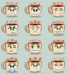 Set of funny coffee cups with different emotions. Vector emoji cacao set. Coffee cup logo funny stickers. Cartoon cute mug with face emoticons. Design for print, t-shirt, party decoration, logotype.