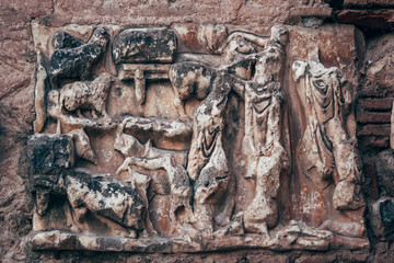 Reliefs on a Marble in a Historic Site