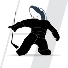 vector silhouette of a hockey player shark on a white background with a stick