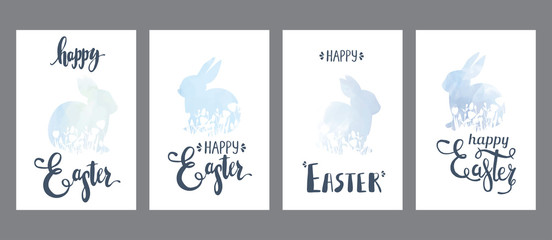 Hand drawn painted fashionable brush shapes Easter bunnies cards set, spring light blue templates with flowers and  lettering, classic design