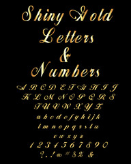 Alphabet-Shiny Gold Alphabet And Numbers