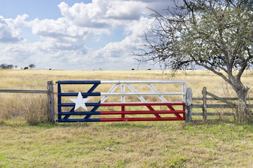 Printed roller blinds Texas Texas Lone Star flag painted on gate to grazing meadow