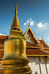 view of temple from golden pagoda in thailand