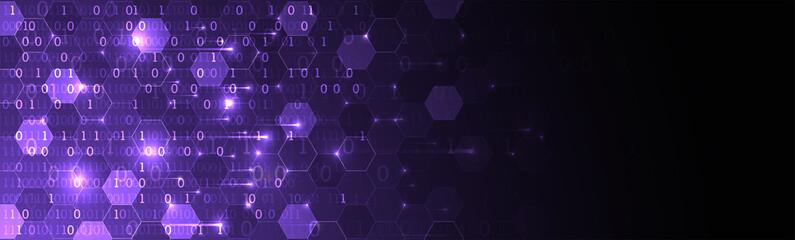 Technology background. Big data concept. Binary computer code.  Vector illustration.