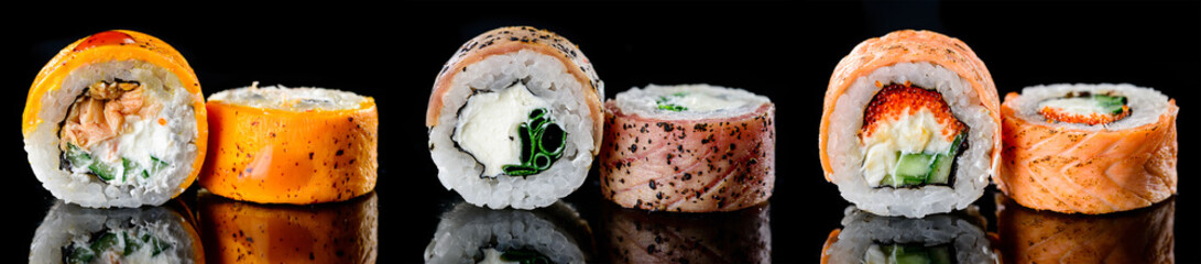 Photo sur Aluminium Sushi bar baked hot sushi rolls on a dark background. Hot fried Sushi Roll Sushi menu