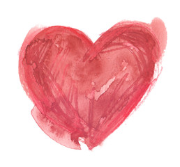 Simple red heart with stains and scribbles. Illustration painted in watercolor and pencil on clean white background